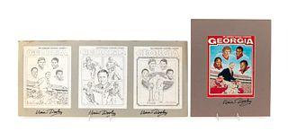 2PC VINCE DOOLEY SIGNED MAGAZINE STORYBOARD, 1981
