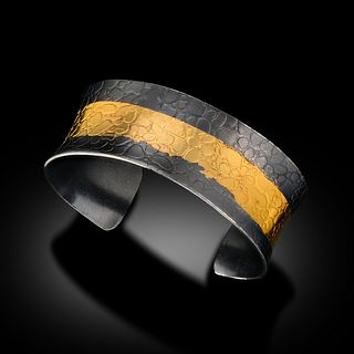 Thick 24 Karat Gold and Oxidized Sterling Cuff