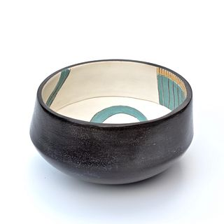 Smoke Fired Bowl with Colorful Graphic Interior