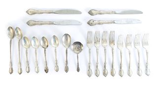 Gorham 20 Pcs Rose Tiara Sterling Silver Flatware