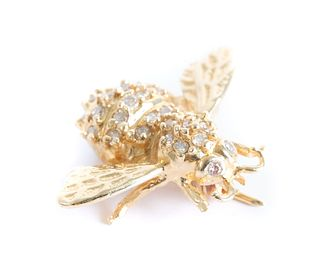 Vintage 14K YG Diamond Bee Pin Clyde Duneier