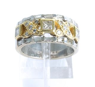 18K White & Yellow Gold XO Diamond Ring