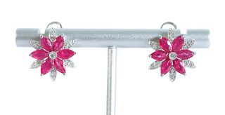 Pair, 14K WG Ruby Diamond Petal Shaped Earrings