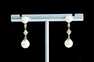 Pair, 14K Yellow Gold Diamond and Pearl Earrings