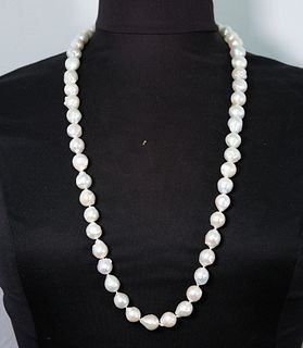 Large White Baroque Pearl & Rhinestone Necklace