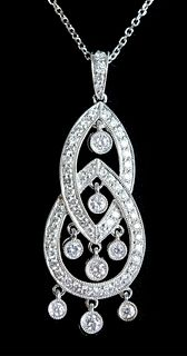 18K White Gold & 1.25 TCW Diamond Pendant Necklace