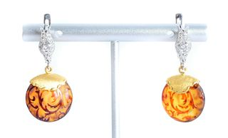 22K YG Amber Etched Diamond Earrings
