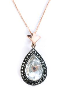Rose Gold White Amethyst Diamond Pendant Necklace