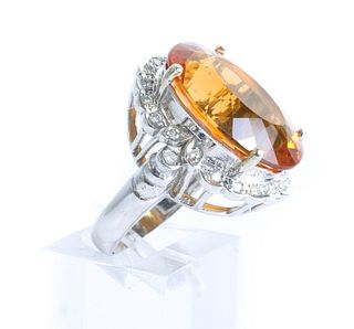 14K WG Diamond & Citrine Cocktail Ring
