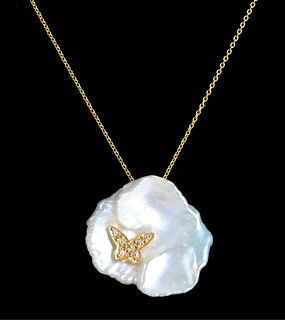 18K YG Baroque Pearl & Diamond Necklace Pendant