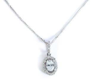 18K White Gold & Diamond Halo Pendant Necklace