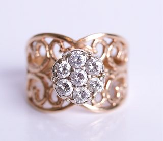 14K Yellow Gold Diamond Ladies Ring, Size 9 1/2