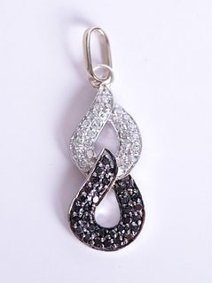 14K WG Black & White Diamond Pendant