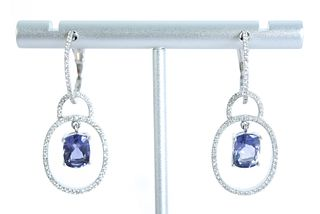 14K WG Diamond & Amethyst Latch Back Earrings