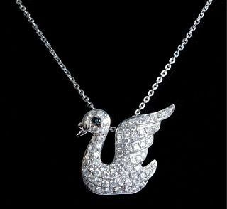 18K WG Diamond Encrusted Swan Pendant Necklace
