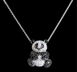 14K White Gold Diamond Panda Pendant Necklace