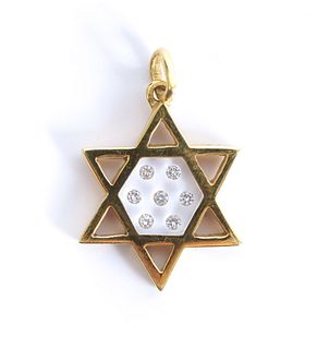 18K Yellow Gold Star of David w/Diamonds