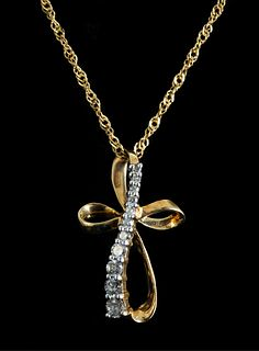 14K Yellow Gold & Diamond Cross Pendant Necklace