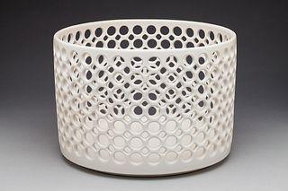 Large White Cylindrical Lace Bowl