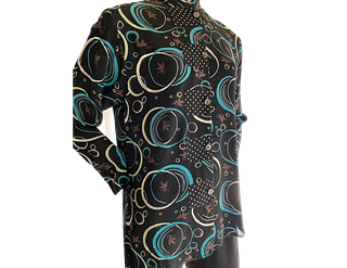 Mid Length Turquoise/ White Circles Top