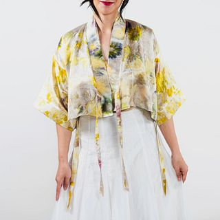 Cropped silk wrap jacket: Ivory, marigold, yellow