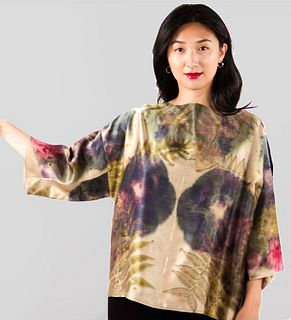Hand dyed silk top: Botanical print in green, pink, bronze