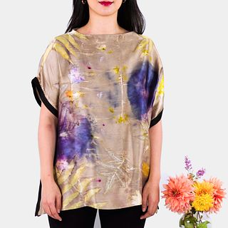 Shimmering silk charmeuse tunic top: Bronze, purple, green