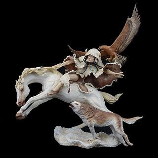 "Bronn ""Indian on Horseback"" Porcelain Group"