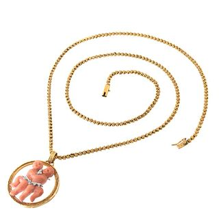 Coral, Diamond & Gold Pendant Necklace