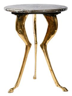 Brass and Stone Tripod Table