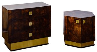 Mastercraft Burled Walnut and Stainless Steel Cabinets