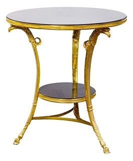 Round Black Marble and Brass Accent Table