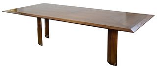 Wood Dining Table with Triangle Inlay