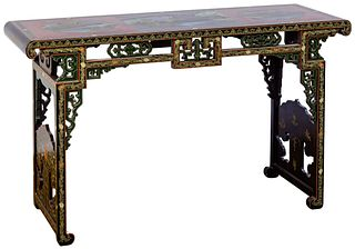 Asian Style Painted Altar / Console Table