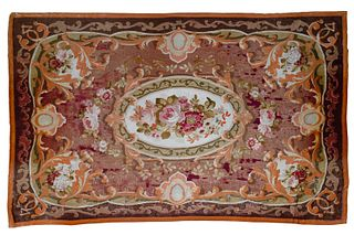 Aubusson Wool Needlepoint Rug and Pillow