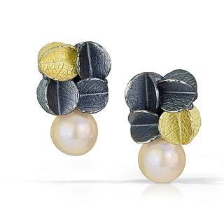 Gold/silver Cube Urban cluster earrings with Freshwater pearl
