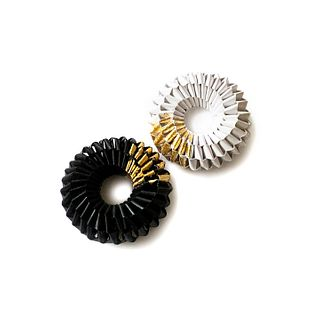 GOLD LEAF  BALCK AND WHITE NEL BROOCH-PENDANT DUO