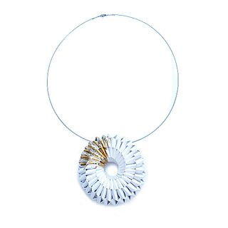 GOLD LEAF AND WHITE NEL BROOCH PENDANT