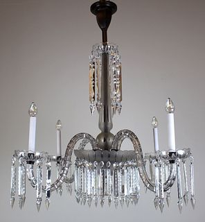 4 Arm Victorian Crystal Chandelier