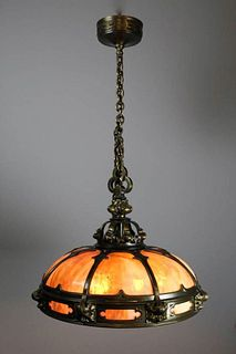 Monumental Gothic Slag Glass Dome Fixture by Mitchell Vance and Co.