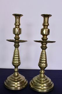 Pair of 19th Century Diamond Point Candle Stick Holders