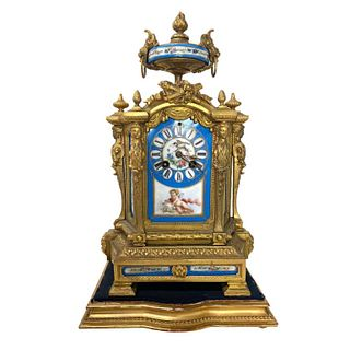 French Antique Bronze Clock, Sevres Blue Porcelain