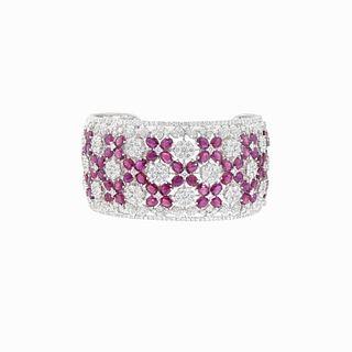 17 TCW Diamond And 30 TCW Ruby Cuff Bracelet