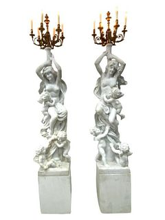 A Pair of Ormolu-Enriched Marble Nymph Candelabra