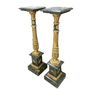 French Style Marble And Bronze Pedestals