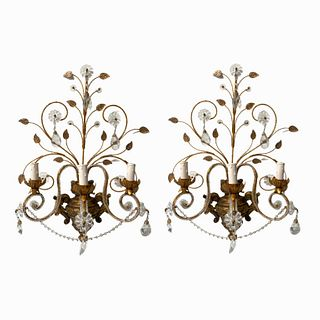 French Rock Crystal Sconces