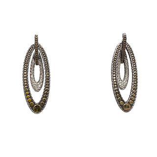 18k Sterling Silver Dangle Earrings
