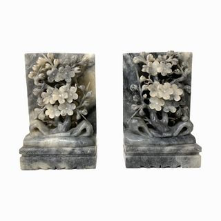 (2) 20th Century Chinese Hard Stone Book Ends