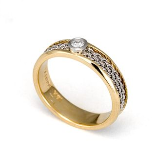 Diamond Inset Weave Ring