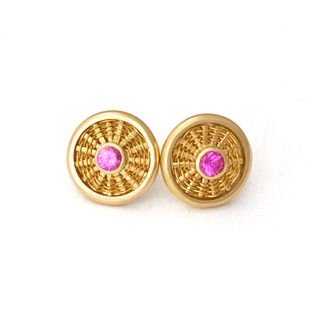 Pink Sapphire Sunburst Stud Earrings